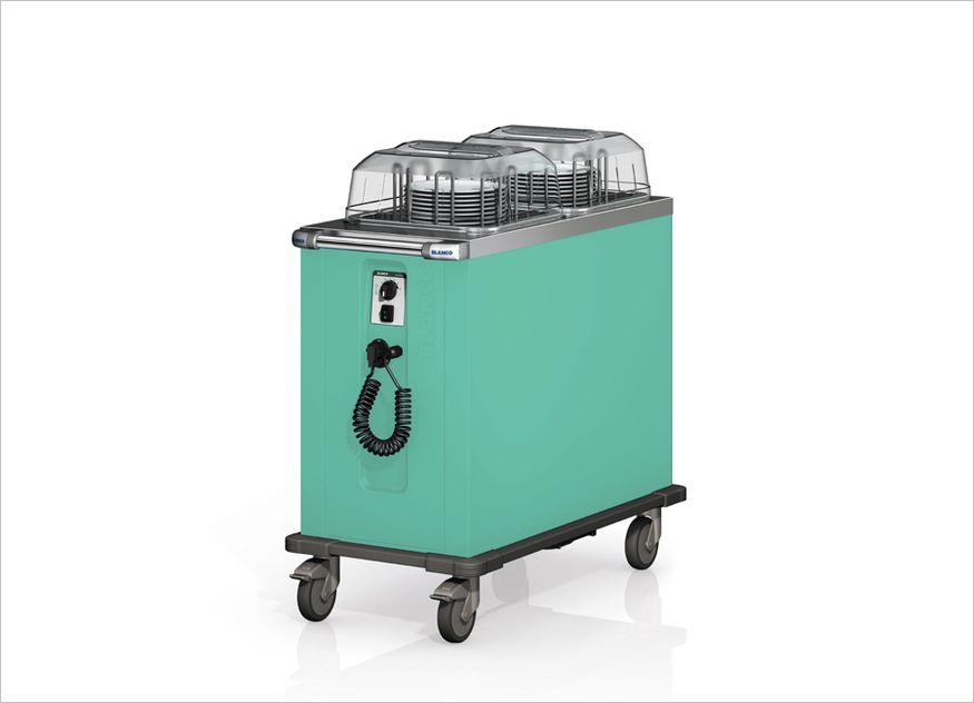 Blanco Professionals neue Farbwelt Fresh Colours: Tellerspender und Speisenausgabewagen in Neomint