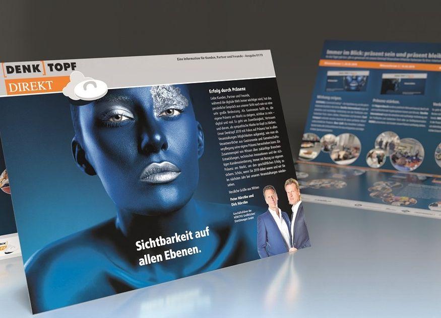 Flyer blau Präsenz Denktopf Hörstke