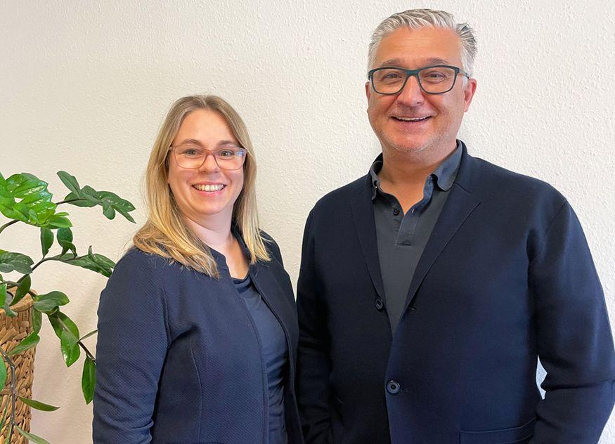 Neu im Team als Geschäftsleiterin: Kerstin Perino mit Peter Adam-Luketic, Geschäftsführer vtechnik Planung