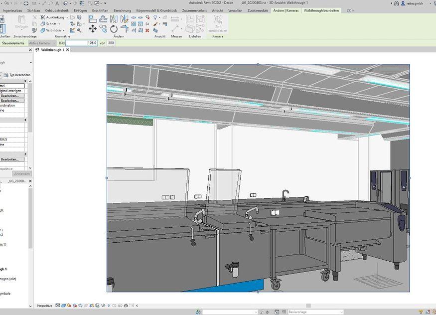 Reven BIM Ansicht Großküche Computer Planung